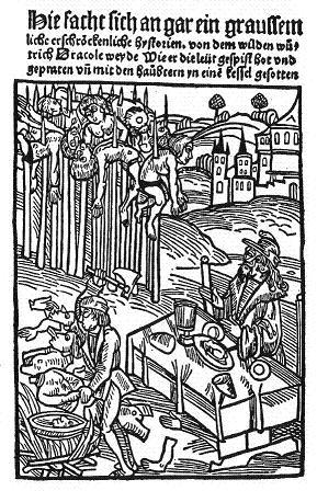 Grabado alemán del siglo XV, que muestra a Vlad con sus empalados